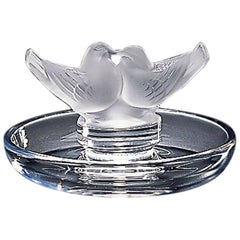 Lalique Two Lovebirds Ashtray in Clear Crystal