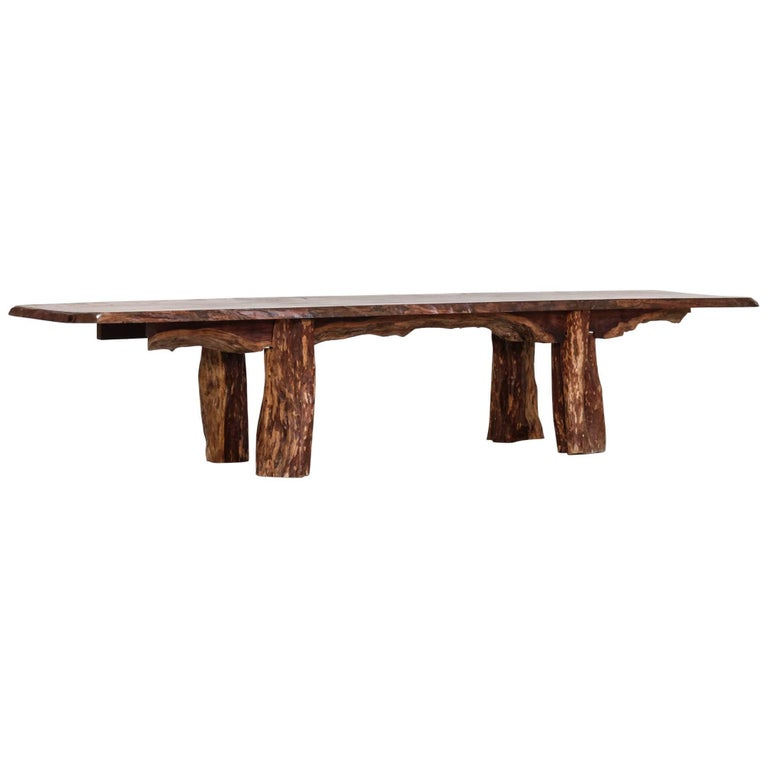 Large Coffee Table or Bench in Wood, Unique Piece, 1950s