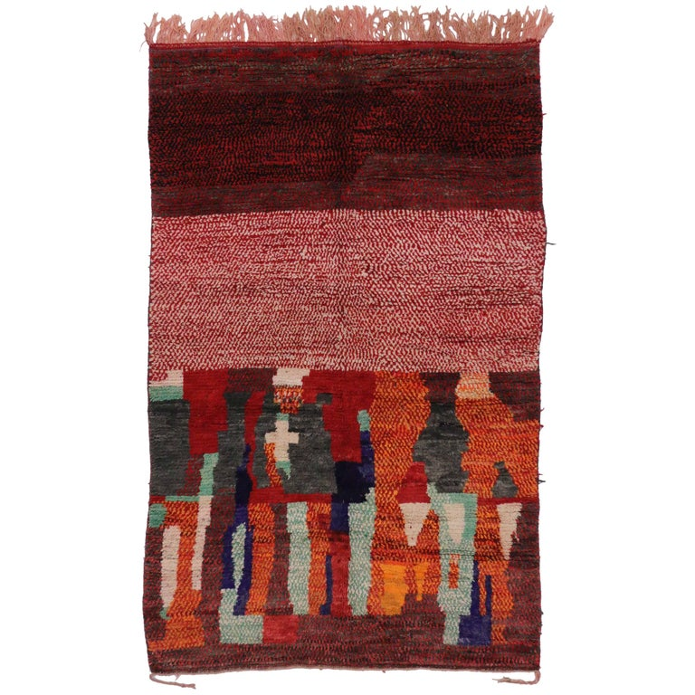 Vintage Berber Moroccan Rug with Color Block Design