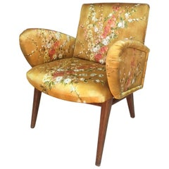 French Yellow Floral Fabric Armchair Fully Upholstered, 1960s
