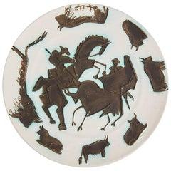 Pablo Picasso Dish, Corrida White Earthenware Dish 1953 'A.R.182'
