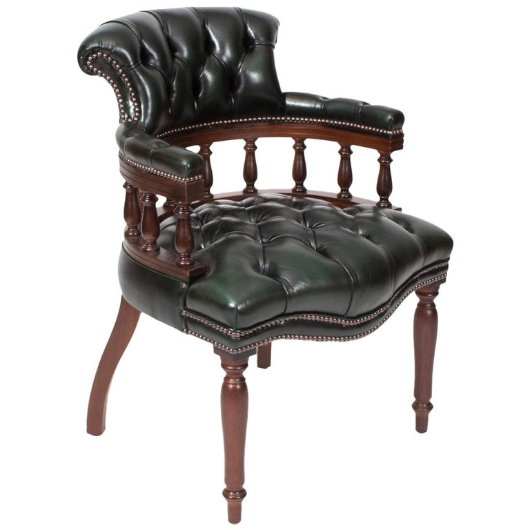English Handmade Leather Captains Desk Chair Olive