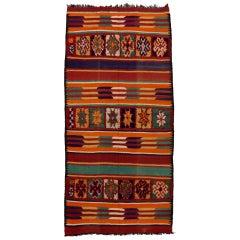 Vintage Berber Moroccan Kilim Rug, Wide Hallway Runner with High-Low Texture
