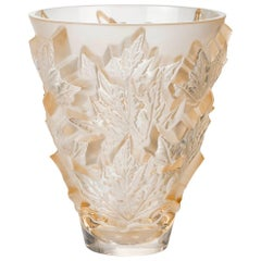 Lalique Champs-Élysées Small Vase in Gold Luster Crystal