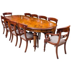 Superb Bespoke Handmade Burr Walnut Marquetry Dining Table Ten Chairs