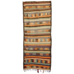Vintage Berber Moroccan Kilim Rug, Wide Hallway Runner with Tribal Boho Style