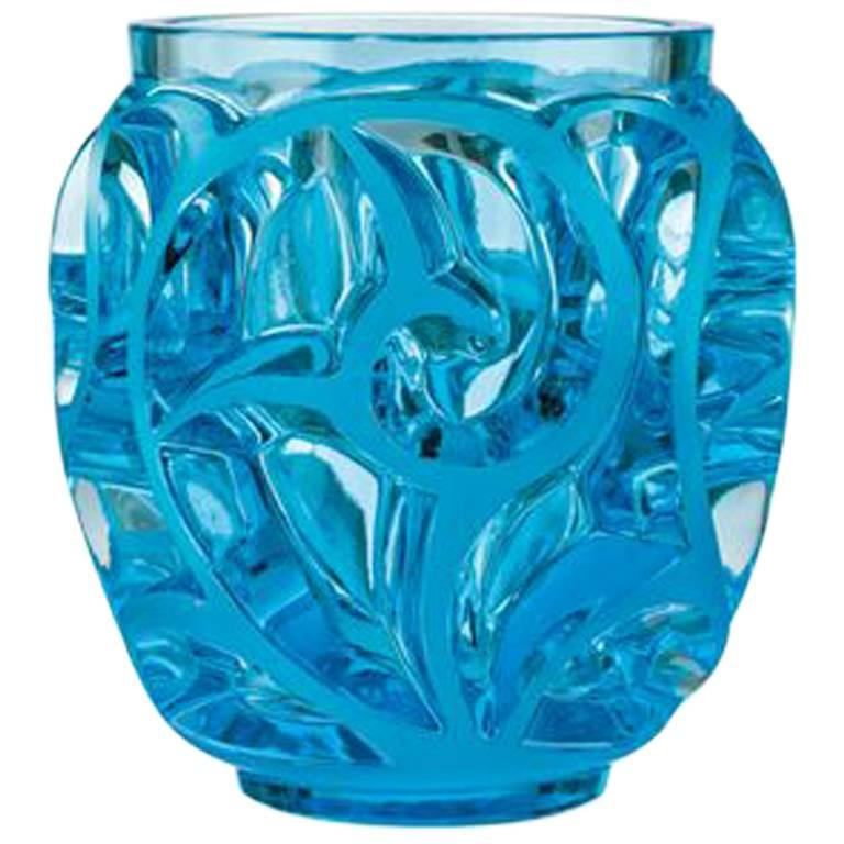 Lalique Small Tourbillons Vase in Pale Blue Crystal For Sale