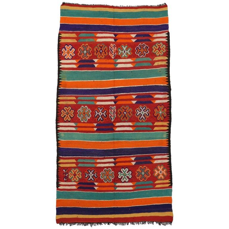 Vintage Berber Moroccan Kilim Rug, Wide Hallway Runner