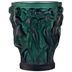 Lalique Bacchantes Small Vase in Deep Green Crystal