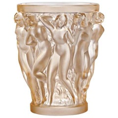 Lalique Bacchantes Small Vase in Gold Luster Crystal
