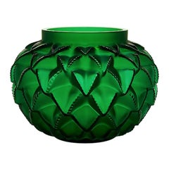 Lalique Languedoc Small Vase in Green Crystal