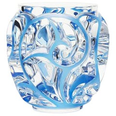 Lalique Small Tourbillons Vase in Clear & Blue Patina Crystal