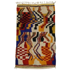 Vintage Berber Moroccan Azilal Rug with Contemporary Modern Style