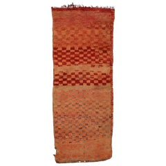 Vintage Berber Moroccan Rug With Cubism Style and Ombre Pattern, Hallway Runner