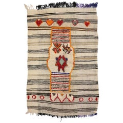 Vintage Berber Moroccan Kilim Rug, High and Low Pile