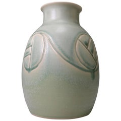 Soholm Pottery Danish Mid-Century Modern Aqua and Mint Green Ceramic Vase 1960s
