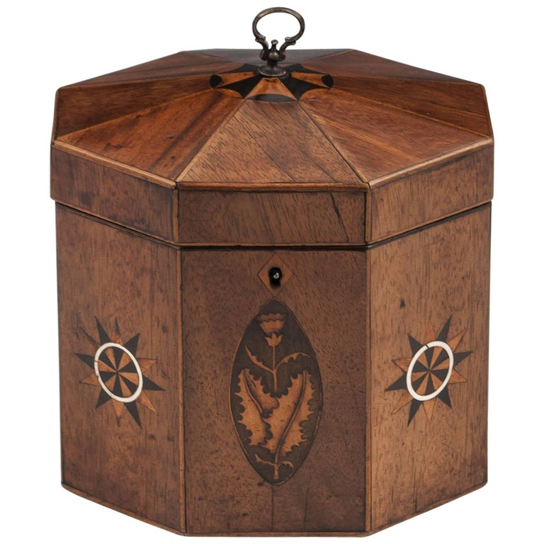 Antique George III Octagonal Tented Top Tea Caddy, 18th Century