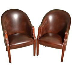 Pair of English Handmade Leather Desk Chairs Tobacco