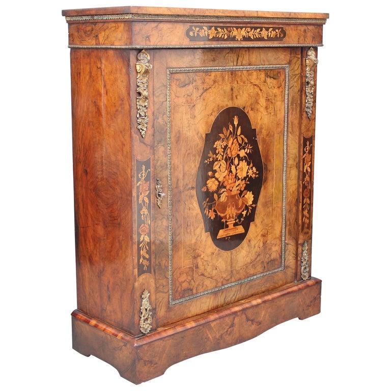 19th Century Burr Walnut Pier Cabinet