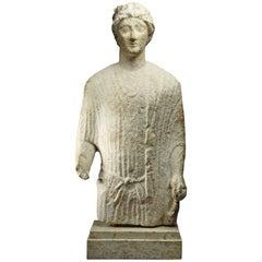 Cypriot Limestone Fragmentary Statue of Kouros, circa 480 BC
