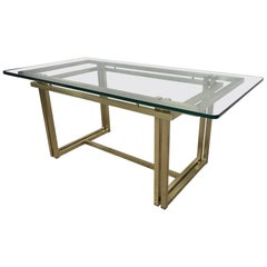 Stunning Italian Rectangular Brass and Glass Table, 1970s