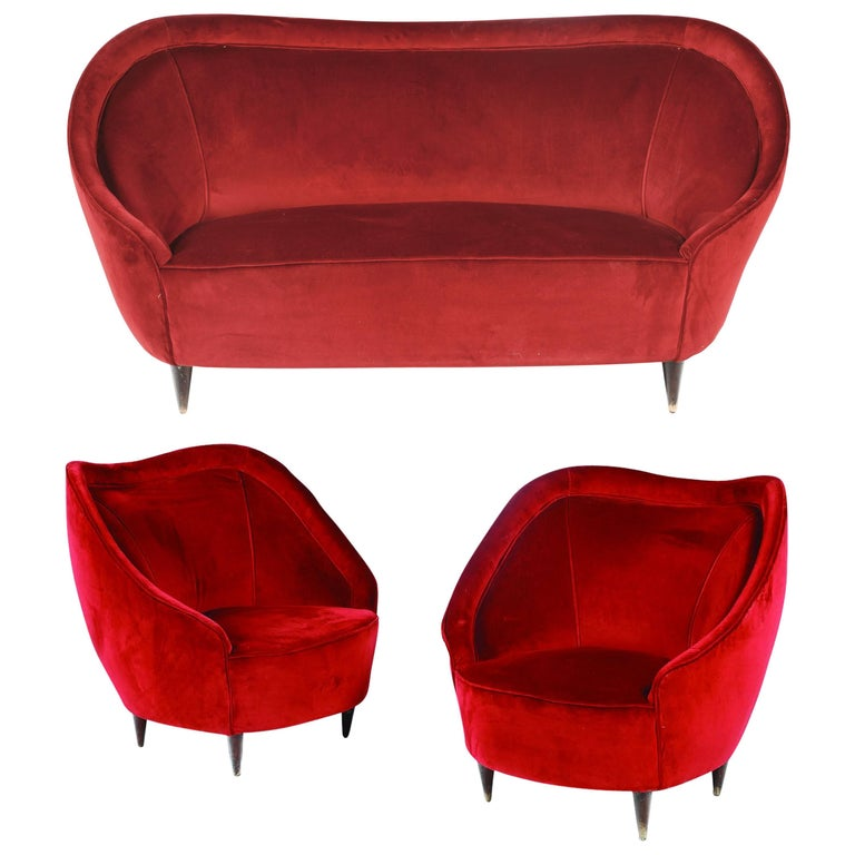Sofa and Pair of Wooden Armchairs, Covered in Velvet Designed by Giovanni Ponti