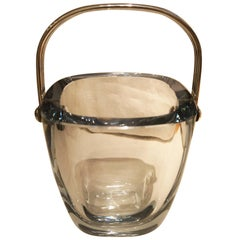 Mid-Century Modern Stromberg Orrefors Ice Bucket with Silver Handle