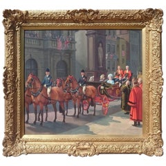 Oil on Canvas Painting, the VE Celebrations, Royal Family at Temple Bar, London