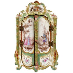 Antique Marseille French Faience Pottery Miniature Armoire or Jewelry Casket