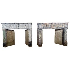 Extremely Rare Pair of 18th Century Louis XVI Fireplaces