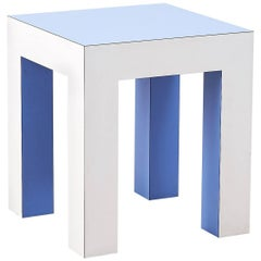 Pale Blue and White Side Table