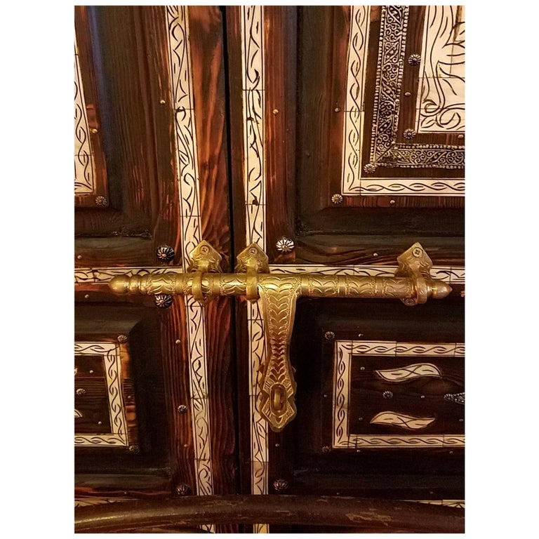Jadi Black Moroccan Wooden Door Camel Bone And Metal