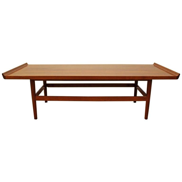 Mid-Century Modern Flared Edge Parquet Top Coffee Table