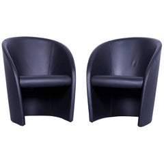Poltrona Frau Intervista Designer Leather Armchair Set Black One-Seat