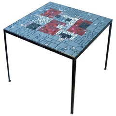 1960s Square Mosaic Side Table with Vibrant Red Glass
