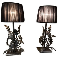 Modern Austrian Pair of Hand-made Iron Table Lamps with Black Organza Shades