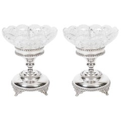 Pair of English Silver Plate Cut-Glass Compote Centrepiece