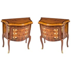 Pair of Milanese Walnut and Rosewood Commodes Drawers