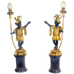 Pair of Gilded Bronze Blackamoor Lamps on Marble Stands, 20th Century