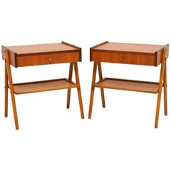 1960s Pair of Swedish Teak Bedside Tables by AB Carlstrom