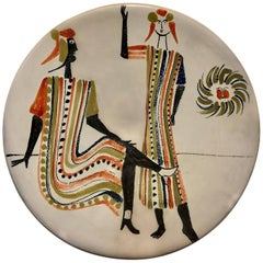 Roger Capron Large Ceramic Dish with Stylized Figures, 1950s