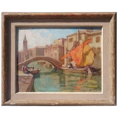 Oil on Board Painting of a View in Venice by Knut Normann