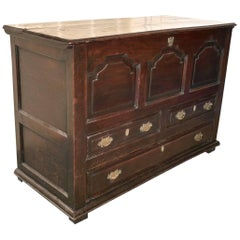 Large 18th Century Oak Three-Drawer Mule Chest