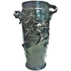 Gustave-Joseph Chéret, Art Nouveau Patinated Bronze Figural Vase, circa 1882
