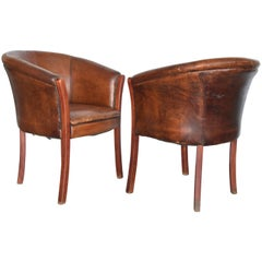 Vintage French or Belgian Wood Cognac Leather Club Chairs