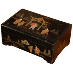 19th Century French Black Lacquered Make Up Music Box with Chinoiserie Decor