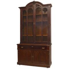 American Victorian Plum-Pudding Mahogany Secretaire/Bookcase