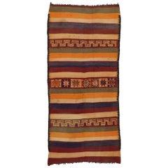 Vintage Berber Moroccan Kilim Runner, Flat-Weave Runner
