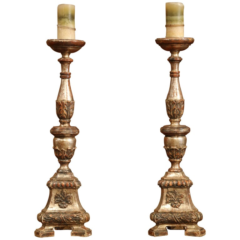 Large Pair of 19th Century Italian Carved Silverleaf Candlesticks Prickets