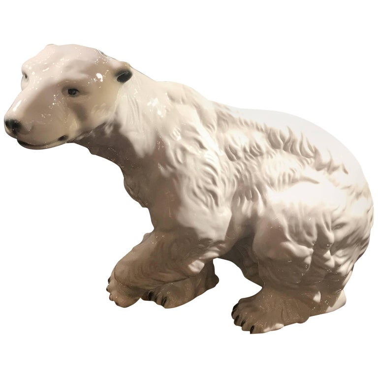 Large Royal Dux Polar Bear